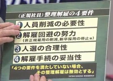 朝まで生テレビ 整理雇用の4要件