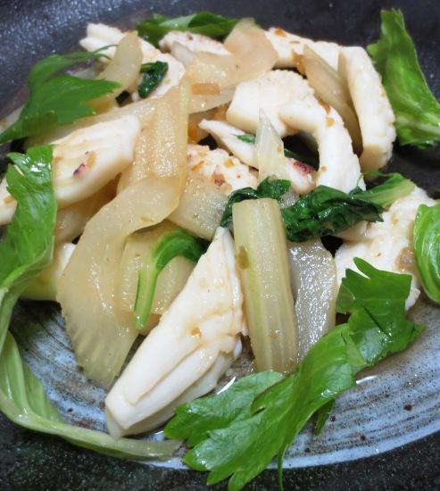 イカとセロリの柚子胡椒炒め B