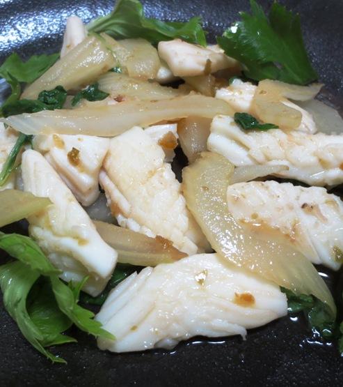 イカとセロリの柚子胡椒炒め 大