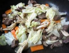 砂肝とキャベツの柚子胡椒炒め 調理⑤