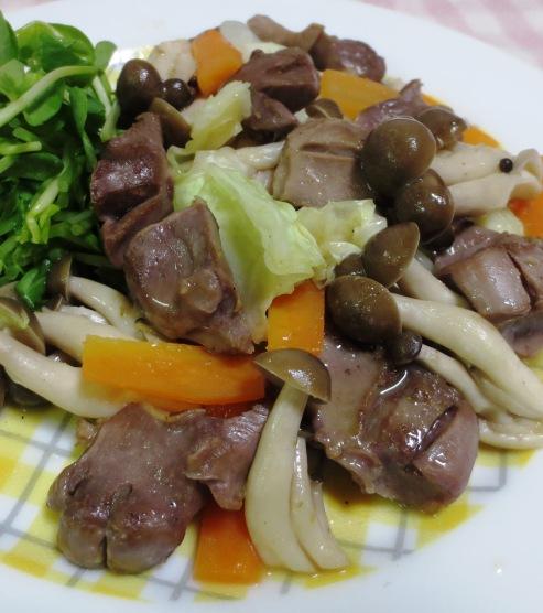 砂肝とキャベツの柚子胡椒炒め 拡大