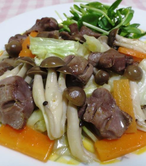 砂肝とキャベツの柚子胡椒炒め 大