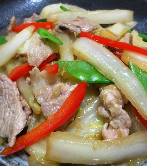 白菜と豚こまの生姜焼き B