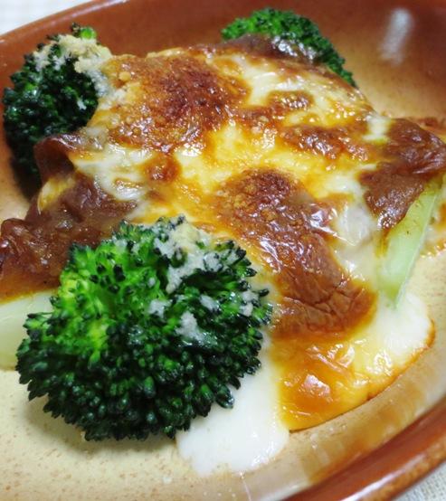 ブロッコリーのカレーチーズ焼き 拡大