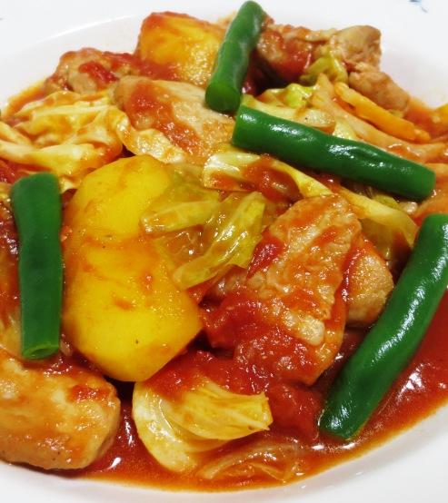 鶏肉とキャベツのトマト煮 大