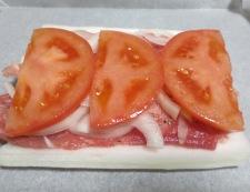 白菜と豚こまトマトの重ね焼き 調理②