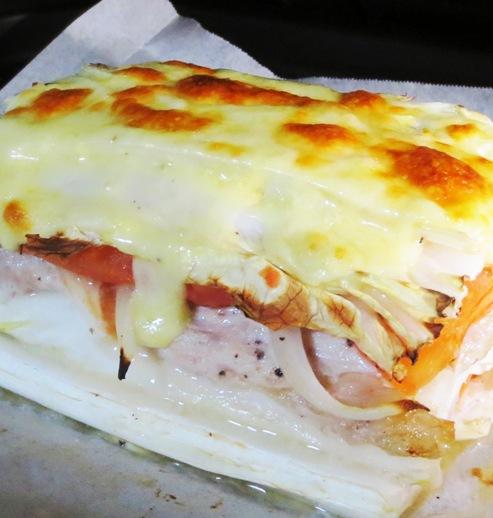 白菜と豚こまトマトの重ね焼き オーブン写真
