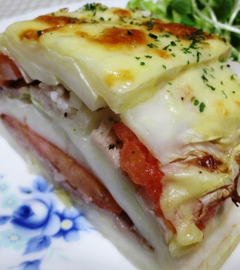 白菜と豚こまトマトの重ね焼き 拡大