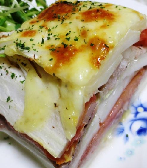 白菜と豚こまトマトの重ね焼き B