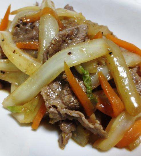 牛肉と白菜の芯の炒め物 B