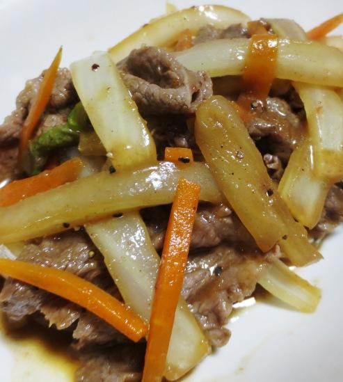 牛肉と白菜の芯の炒め物 大