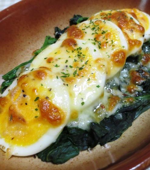 ほうれん草とゆで卵のチーズ焼き 大