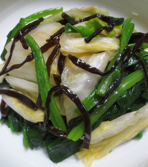 白菜の漬物とほうれん草の塩昆布和え 拡大