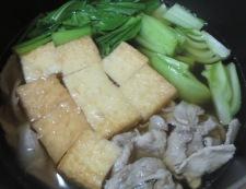 青梗菜と絹揚げの煮物 調理②
