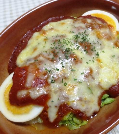 キャベツと卵のミートソースグラタン 大