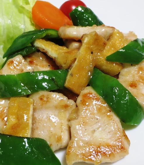 鶏むね肉とお揚げの塩ジャン炒め B