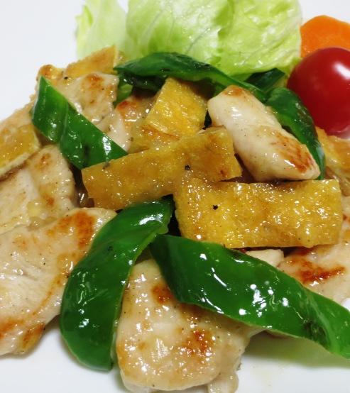 鶏むね肉とお揚げの塩ジャン炒め 拡大