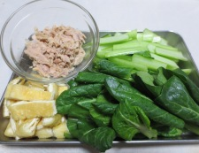 小松菜とツナの煮物<オレガノ風味> 調理①