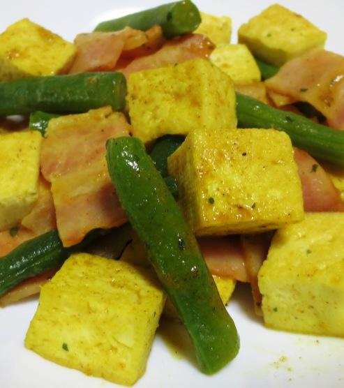 豆腐とベーコンのカレー炒め 拡大