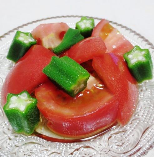 トマトとおくらの麺つゆ和え 大