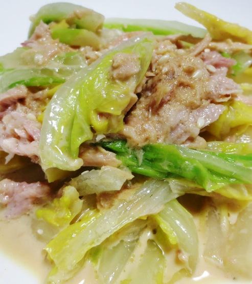 白菜とツナの胡麻わさびマヨ 大