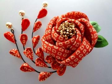 疋田絞り朱赤 椿の2wayクリップピン髪飾り