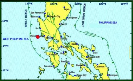 Earthquake epicenter off Zambales