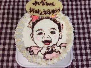 似顔絵ケーキに