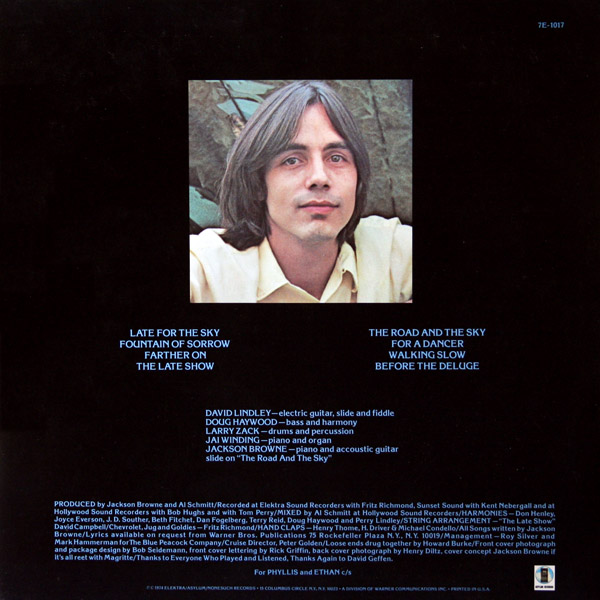 Late For The Sky - Jackson Browne (Back)