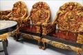 中国物 無垢材 龍彫り 応接6点セット02