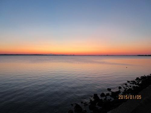 浜名湖の朝焼け