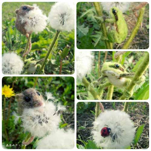 羊毛フェルトカエルネズミ-3