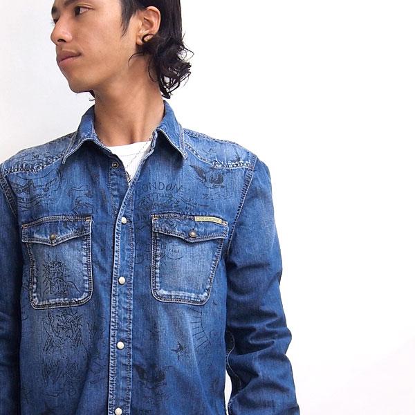 Pepe Jeans/ペペジーンズ/メンズ/'CRANSTON' デニムシャツ col ブルー /pm301344-blue