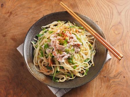 もやしと水菜の和風パスタ10
