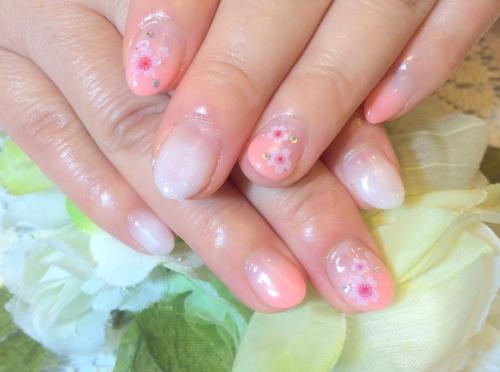 2色グラデーションネイル 桜
