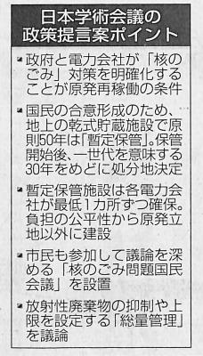学術会議の提案骨子(15年2月15日「北海道新聞」)