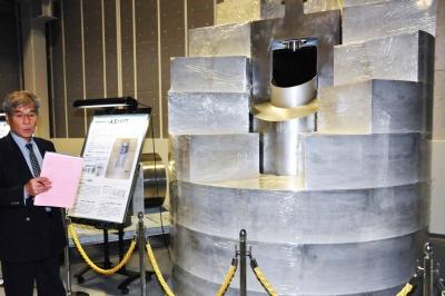 ガラス固化体の模型(幌延深地層研究センターで)