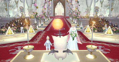 祭壇の前の新郎新婦
