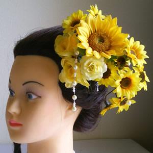 3種類のひまわりのウエディング髪飾り