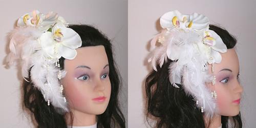 胡蝶蘭とファーと羽の和装髪飾り