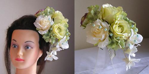 ミントローズと紫陽花の結婚式髪飾り
