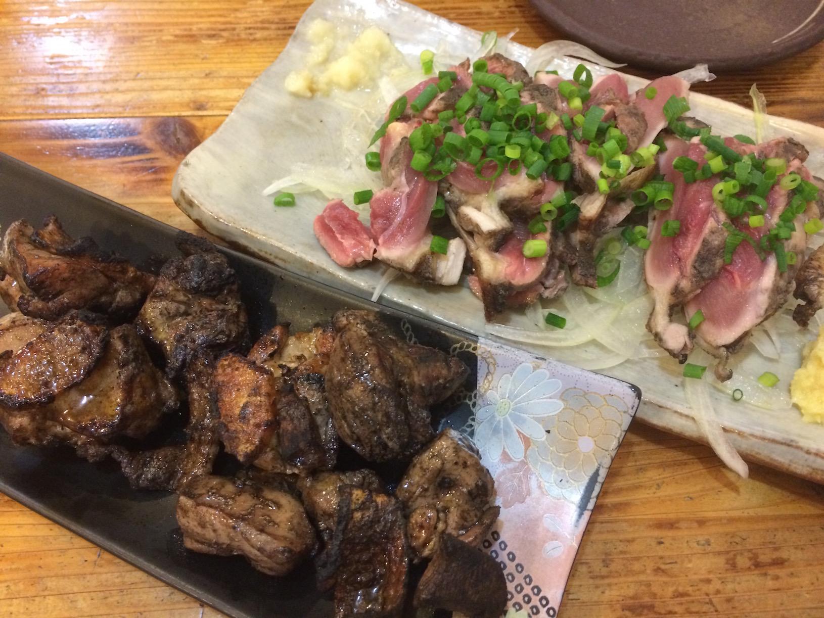 地鶏たたき&炭焼き