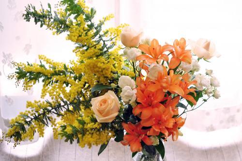 ミモザとお花