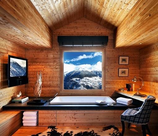 スイスの高級山荘のお風呂