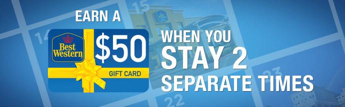 ベストウェスタンリワードアジアを対象に2泊したあと50ドルのギフトカードがもらえます。