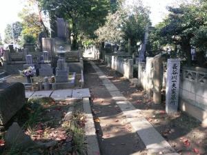 長谷川一夫墓所の案内碑