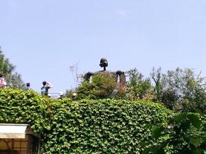 屋上に見えるロボット兵