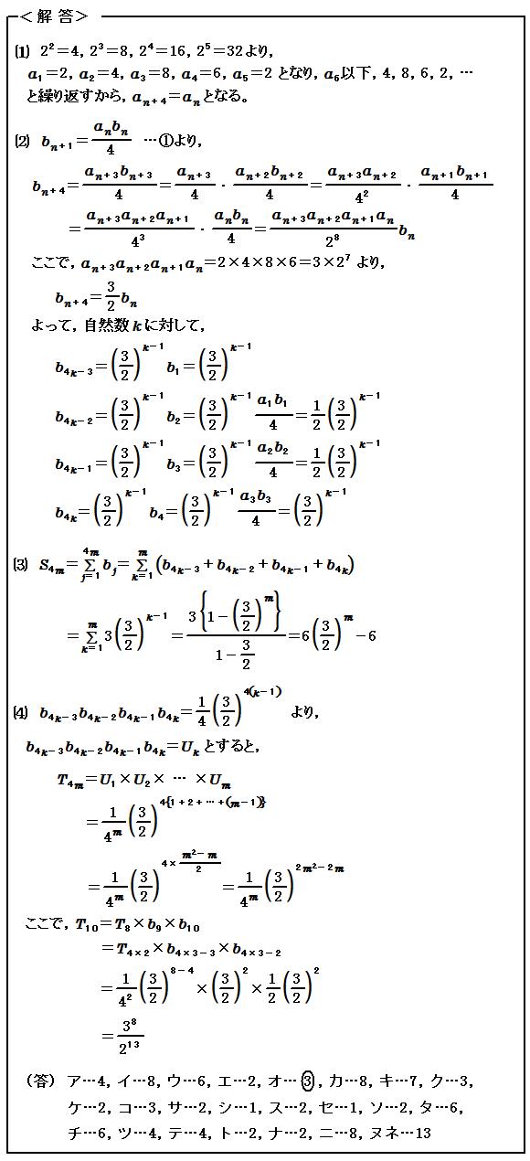 2015センター試験 数Ⅱ・数B 数列 解答