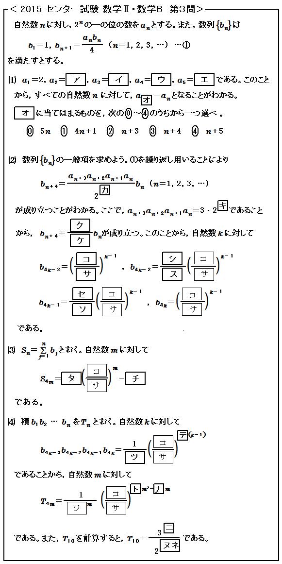 2015センター試験 数Ⅱ・数B 数列