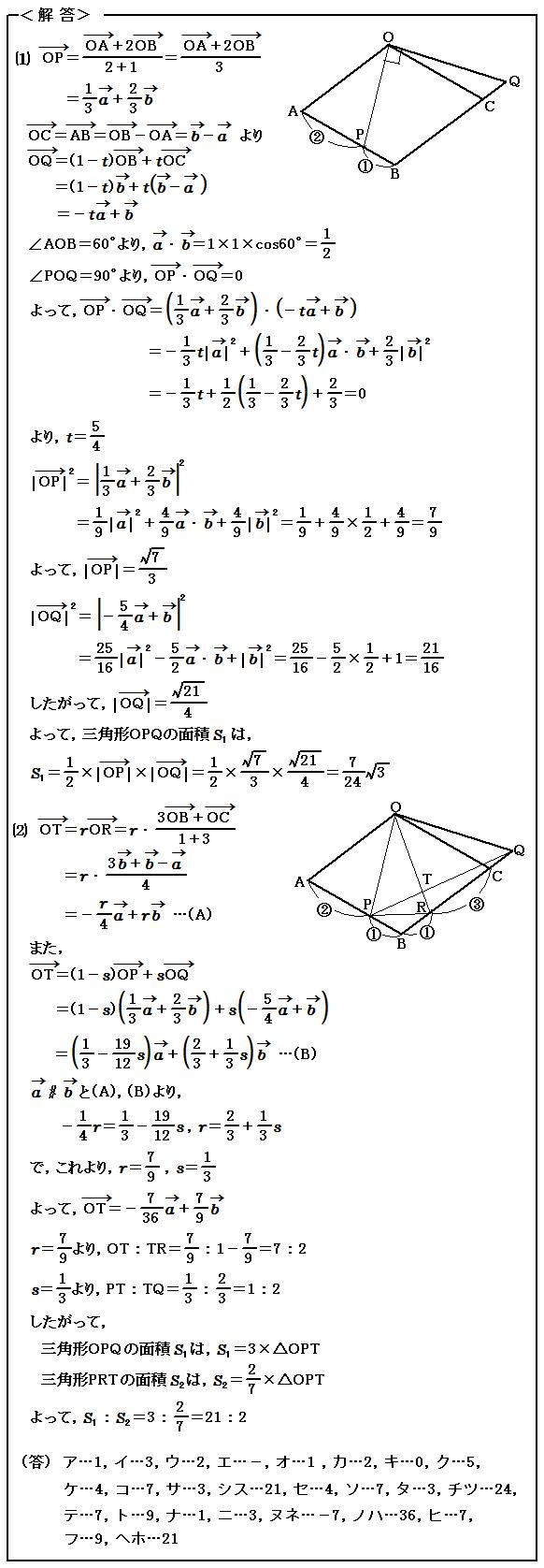 2015 センター試験 数学Ⅱ・数学B ベクトル 解答